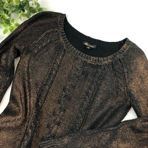 Ella Moss Black and Copper Shimmer Knit Sweater